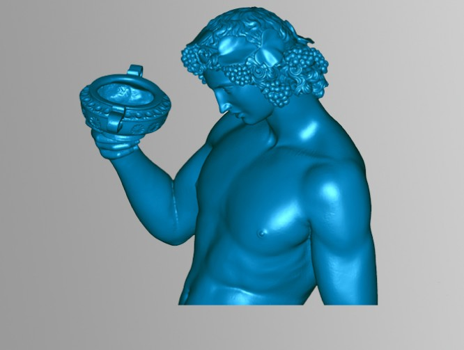 A Michelangelo Bronze placed in a studio for 3D scanning