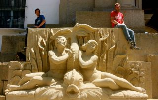 Restored sandstone fountain at the Santa Barbara County courthouse, created from 3D scan data