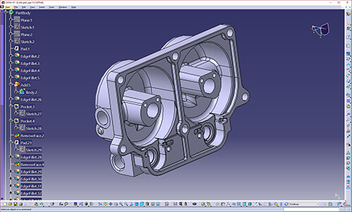 CATIA CAD file with feature tree created from 3D scan data