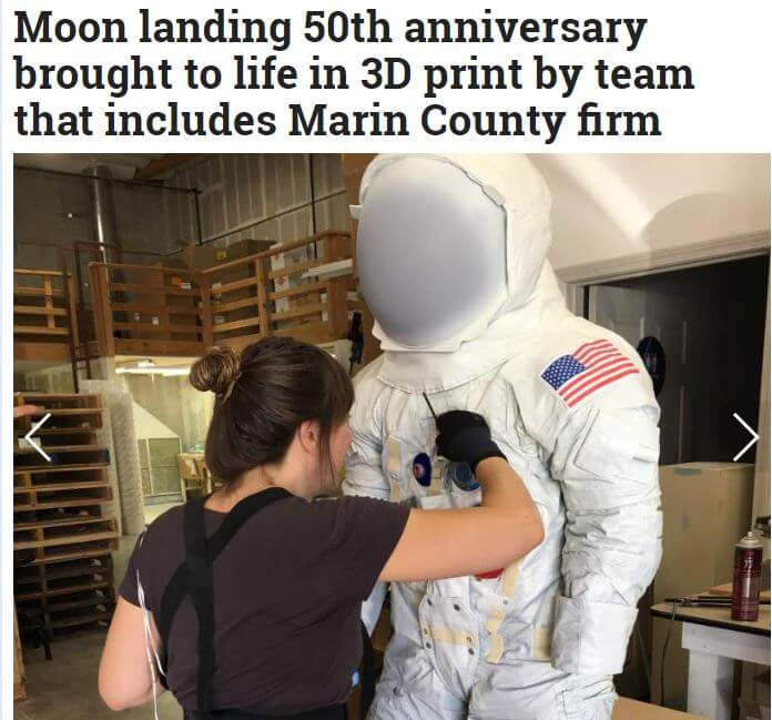 Moon landing 50th anniversary brought to life in 3D print by team that includes Marin County firm
