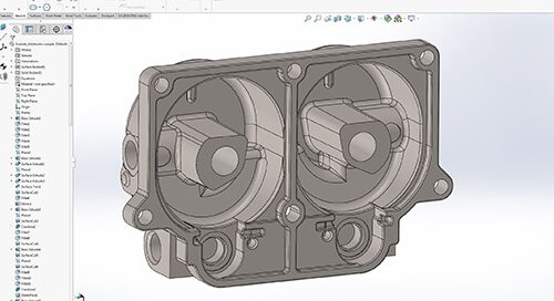 SOLIDWORKS CAD file reverse engineered from 3D scan data using Geomagic DesignX software.